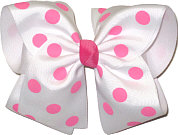MEGA Extra Large White with Pink Dots Polka Dot Bow