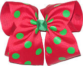 MEGA Extra Large Red with Green Dots Polka Dot Bow
