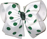 MEGA Extra Large White with Forest Green Dots Polka Dot Bow