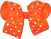 Large Large Neon Orange with White Dots Polka Dot Bow