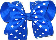 Large Large Electric Blue with White Dots Polka Dot Bow
