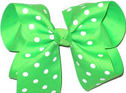 Large Large Neon Green with White Dots Polka Dot Bow