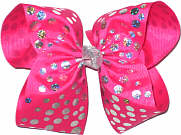 MEGA Extra Large ing Pink with Hologram Dots Polka Dot Bow
