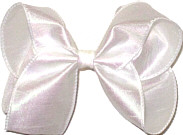 Large Iridescent White Dupioni Silk Ribbon Starched to Hold Its Shape Bow
