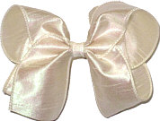 Large Iridescent Ivory Dupioni Silk Ribbon Starched to Hold Its Shape Bow