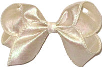 Toddler Iridescent Ivory Dupioni Silk Bow