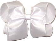 Large White Dupioni Silk Ribbon Starched to Hold Its Shape Bow