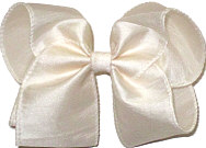 Large Light Ivory Dupioni Silk Ribbon Starched to Hold Its Shape Bow