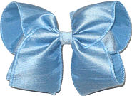 Large Blue Dupioni Silk Ribbon Starched to Hold Its Shape Bow