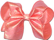 Large Iridescent Peach Dupioni Silk Bow