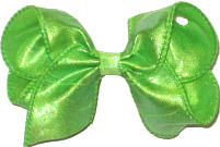 Toddler Iridescent Neon Green Dupioni Silk Bow