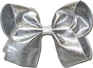 Large Iridescent Metallic Silver Dupioni Silk Bow