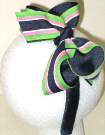 Medium Navy Green and Pink Stripe over Navy Overlay Headband