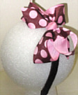 Medium Brown with Pink Polka Dot Headband