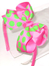 Medium Hot Pink with Neon Lime Polka Dot Headband