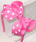 Medium Hot Pink with White Polka Dot Headband