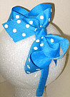 Medium Mystic Blue with White Polka Dot Headband