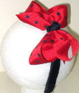 Medium Red with Navy Polka Dot Headband