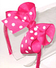 Medium Shocking Pink with White Polka Dot Headband