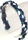 Navy Evergreen and White Braided Headband