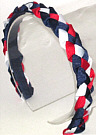Navy Red and White Braided Headband