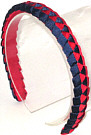 Red and Navy Braided Headband