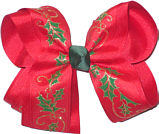 Large Green and Gold Print Holly over Red