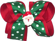 Large Emerald and White Polka Dot over Red with Santa Miniature