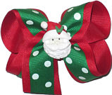 Medium Emerald and White Polka Dot over Red with Santa Miniature