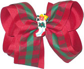 Large Red and Green Check over Red grosgrain with Christmas Stocking miniature