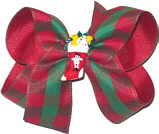 Medium Red and Green Check over Red grosgrain with Christmas Stocking miniature