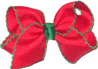 Small Red with Green Moonstitch Christmas Bow