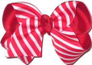 Toddler Red and White Stripe Christmas Bow
