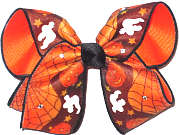 Large Halloween Bow with Swarovski Crystals Double Layer Overlay Bow