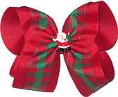 Mega Red and Green Plaid over Red Grosgrain with Santa Miniature