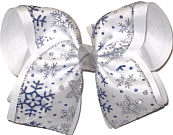 Mega White with Silver and Blue Snowflakes