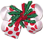 Medium Christmas Bow with Red and Emerald Green Corkers