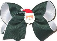 Toddler Christmas Bow on Alligator Clip with Santa Face Miniature