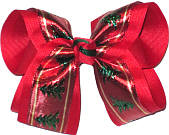 Large Christmas Bow with Christmas Trees