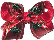Toddler Christmas Bow with Christmas Trees on Alligator Clip