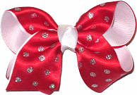 Toddler Red with Silver Glitter Dots Christmas Bow on Alligator Clip