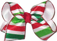 Toddler Red Green White Striped Christmas Bow on Alligator Clip