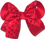 Medium Red with Red Glitter Dot Christmas Bow
