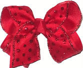 Toddler Red with Red Glitter Dot Christmas Bow on Alligator Clip