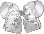 Large White with Silver Glitter Snowflakes Christmas Bow