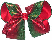 Large Red and Green Glitter Christmas Bow