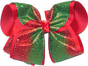 MEGA Red and Green Glitter Christmas Bow