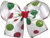 Large Red and Green Glitter Dot Christmas Bow