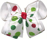 MEGA Red and Green Glitter Dot Chistmas Bow
