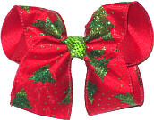 Large Green Glitter Christmas Tree Bow